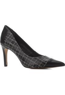 Scarpin Couro Shoestock Salto Alto Bordado Xadrez - Feminino-Preto