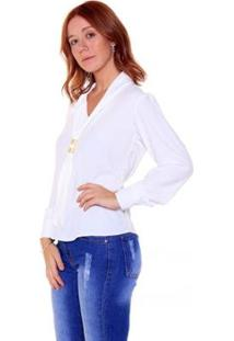 Blusa Studio 21 Fashion Crepe Laço - Feminino-Off White