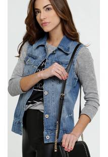 Colete Feminino Jeans Estampado Biotipo