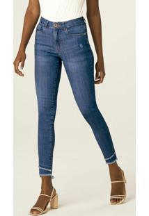 Calça Azul Skinny Jeans Estonado