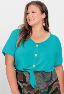 Blusa Plus Size Turquesa Cropped Com Amarração