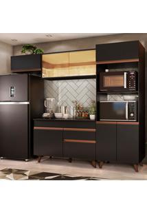 Cozinha Completa Madesa Reims 260001 Com Armário E Balcão - Preto Preto