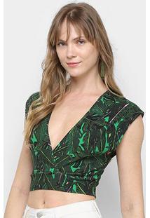Blusa Top Cropped Colcci Estampada Feminina - Feminino-Preto+Verde