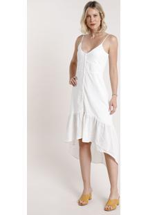 Vestido Feminino Midi Mullet Em Laise Com Botões Alça Fina Off White