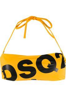 Dsquared2 Logo-Print Bikini Top - Amarelo
