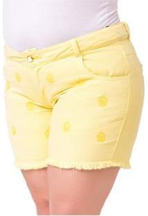 Shorts Feminino Com Bordado Plus Size - Feminino-Amarelo