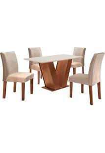 Conjunto De Mesa De Jantar Com 4 Cadeiras Classic Vl Suede Off White E Bege