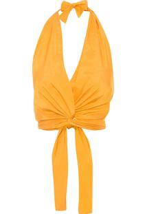 Blusa Feminina Frente Única Nó - Amarelo