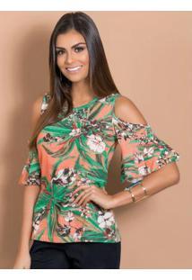 Blusa Floral Com Detalhe Vazado Nos Ombros