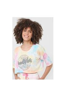Camiseta Cropped Tricats Oversize Tie Dye Good Vibes Amarela/Rosa