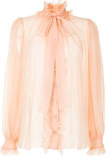 Dolce & Gabbana Blusa De Chiffon Com Laço Na Gola - Rosa
