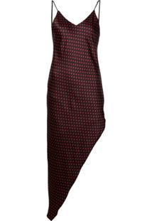 Amiri Vestido Assimétrico Com Poás - Preto