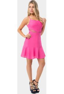 Vestido Com Alças E Babado Rosa Fiesta - Lez A Lez