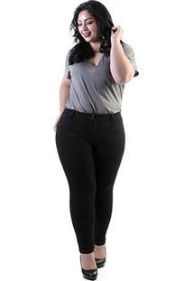 Calça Cigarrete Sawary Sarja Plus Size Hot Pant Feminina - Feminino-Preto