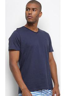 Camiseta Colcci Básica Gola V Masculina - Masculino-Azul Escuro