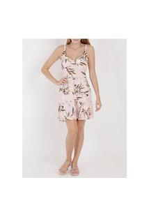 Vestido Estampado Feminino Rosa