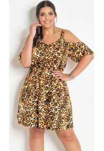 Vestido Ciganinha Plus Size Onça Com Alças