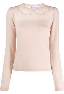 Redvalentino Suéter De Tricô Com Aplicação Floral - Neutro