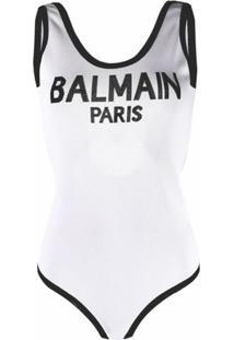 Balmain Body Sem Mangas Com Logo De Tricô - Branco