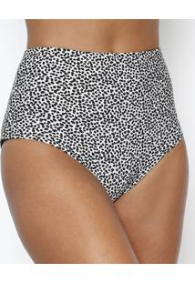 Calcinha Audrey Modern Dots Hot Pant - Off White & Pretarosa Chá