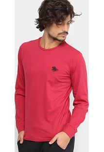 Camiseta Rg 518 Básica Manga Longa Com Bordado Masculina - Masculino-Vinho