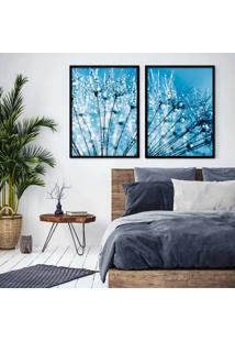 Quadro 65X90Cm Flores Dente De Leão Orvalho Azul Minimalista Moldura Preta E Vidro