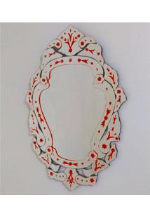 Espelho Veneziano Decorativo, Sala, Margarida Plus Vermelho 61X88