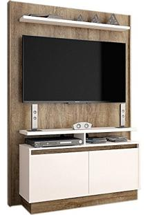 Estante Home Theater Fit Madeira Touch/Off White Brilho - Imcal