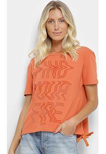 Camiseta Coca-Coca Estampada Feminina - Feminino-Laranja