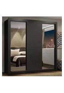 Guarda-Roupa Casal Madesa Lyon Plus 3 Portas De Correr Com Espelhos 4 Gavetas Cor:Preto