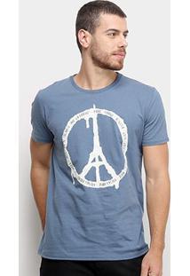 Camiseta Triton Torre Eiffel Masculina - Masculino-Azul Claro