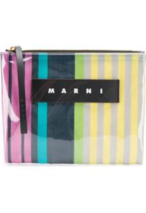 Marni Striped Clutch - Cinza