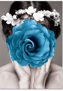 Quadro 60X90Cm Canvas Amália Mulher Com Flor Azul Nórdico