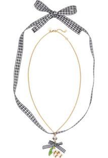 Miu Miu Necklace With Floral Pendant - Dourado
