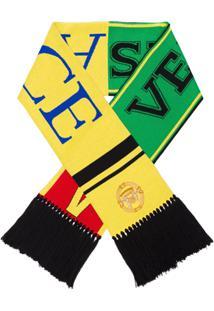 Versace Cachecol De Lã Com Franjas - Amarelo