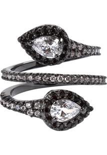 Anel Snake The Ring Boutique Cravejado De Zircônias Em Ródio Negro