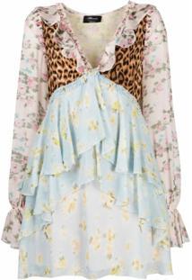 Blumarine Vestido De Seda Com Recorte Contrastante - Rosa