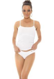 Blusa Recco Alca C/ Bjo De Malha Comfort - Feminino-Branco