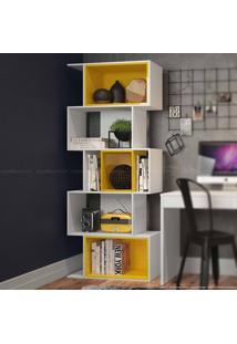 Estante Livreiro Cubo Branco/Amarelo - Urbe Móveis