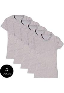 Kit Com 5 Camiseta Baby Look Básica Part.B Gola Redonda Feminina - Feminino