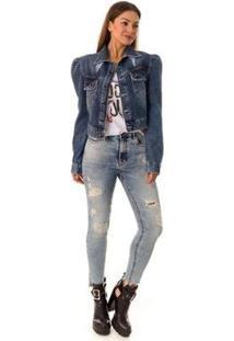 Jaqueta Jeans Puff Opera Rock Feminina - Feminino-Azul