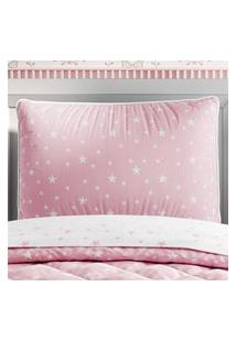 Capa Travesseiro Infantil Rosa/Branco Estrelas Gráo De Gente Rosa