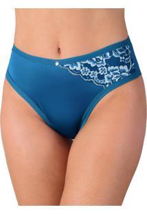 Calcinha Vip Lingerie Em Microfibra Lisa Com Renda Estampada Azul
