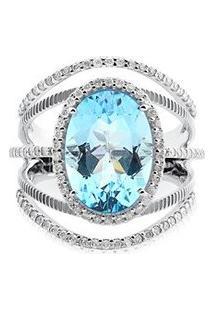 Anel Ouro Branco Topázio E Diamantes