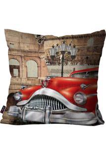 Capa De Almofada Pump Up Decorativa Avulsa Vermelho Carro Antigo 45X45Cm - Vermelho - Dafiti