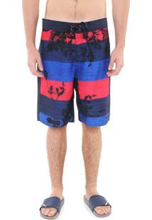 Bermuda Água Reta Calvin Klein Estampada Azul/Vermelha