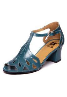 Sandalia Feminina Azul Em Couro - Riverside 7853