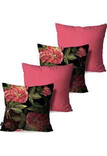 Kit Com 4 Capas Para Almofadas Pump Up Decorativas Rosa Flowers 45X45Cm