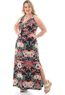 b3d6838fde08 -50% Vestido Longo Floral Preto Plus Size