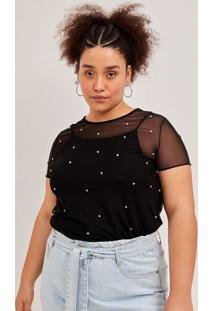 Blusa De Tule Com Aplicações Curve E Plus Size Preto